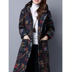 best Hooded Floral Print Quilted Coat