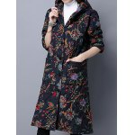 Hooded Floral Print Quilted Coat deal