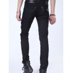 Zippered Faux Leather Insert Narrow Feet Pants for sale