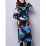 cheap Hooded Landscape Print Quilted Coat