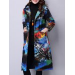 Hooded Landscape Print Quilted Coat