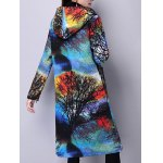 Hooded Landscape Print Quilted Coat deal