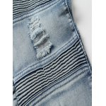 Pocket Rivet Ribbed Frayed Ripped Jeans photo