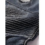 Ribbed Insert Straight Leg Zippered Ripped Jeans for sale