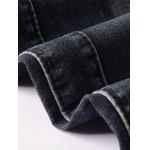 best Ribbed Insert Straight Leg Zippered Ripped Jeans