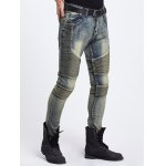 Cool Zipper Fly Ribbed Panel Ripped Jeans deal