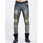 Ribbed Panel Zipper Fly Ripped Jeans 11027