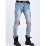 Knee Hole Zipper Fly Ripped Jeans deal