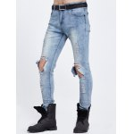 cheap Knee Hole Zipper Fly Ripped Jeans