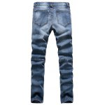 cheap Ribbed Panel Scratched Zipper Fly Five-Pocket Jeans