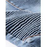 best Ribbed Panel Scratched Zipper Fly Five-Pocket Jeans