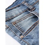 Ribbed Panel Scratched Zipper Fly Five-Pocket Jeans for sale