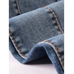 Ribbed Panel Scratched Zipper Fly Five-Pocket Jeans photo