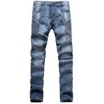 Ribbed Panel Scratched Zipper Fly Five-Pocket Jeans 11027