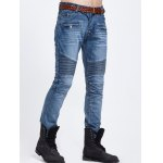 Scratched Zipper Pocket Rib Paneled Jeans deal