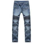 best Scratched Zipper Pocket Rib Paneled Jeans