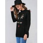 cheap Christmas Sequins Deer Pullover Sweater