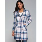 cheap Plaid Wool Blend Coat with Pockets