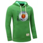 cheap Hooded Gramophone Record Print Thicken Fleece Green Hoodie