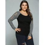 cheap Plus Size Hollow Out Raglan Sleeve T-Shirt