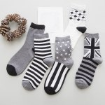 cheap One Set Stripe and Star and Rhombus and British Flag Pattern Vintage Socks