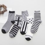 One Set Stripe and Star and Rhombus and British Flag Pattern Vintage Socks