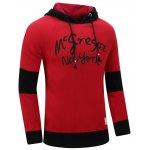 cheap Hooded Graphic Printed Thicken Color Block Spliced Fleece Hoodie