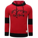 Hooded Graphic Printed Thicken Color Block Spliced Fleece Hoodie