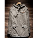 Zip Up Drawstring Hem Hooded Quilted Coat