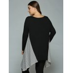 best Plus Size Striped Loose Fitting Asymmetrical Blouse