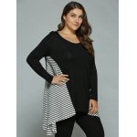Plus Size Striped Loose Fitting Asymmetrical Blouse deal