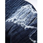Distressed Rib Design Zipper Fly Straight Leg Jeans deal