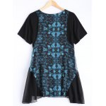 cheap Asymmetric Retro Print Dress