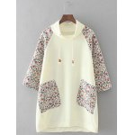 Plus Size Retro Printed Patched Hoodie
