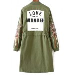 Stand Neck Embroidered Sleeve Trench Coat deal