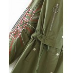 best Stand Neck Embroidered Sleeve Trench Coat