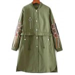 cheap Stand Neck Embroidered Sleeve Trench Coat