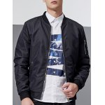 cheap Stand Collar Pocket Embellished Zip-Up Jacket