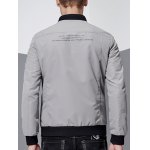 Stand Collar Pocket Embellished Zip-Up Jacket for sale