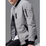 Stand Collar Pocket Embellished Zip-Up Jacket deal