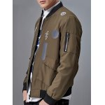 cheap Stand Collar Graphic Print Pocket Embellished Zip-Up Jacket