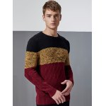 cheap Color Block Splicing Knit Blends Argyle Crew Neck Long Sleeve Sweater