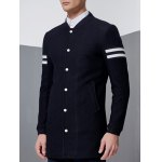 cheap Stand Collar Button Up Striped Sleeve Coat