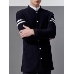 Stand Collar Button Up Striped Sleeve Coat deal