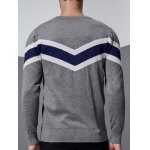Chevron Pattern Long Sleeve Crew Neck Sweater deal