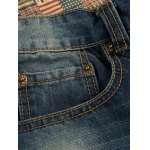 cheap Distressed Zipper Fly Patch Design Straight Leg Jeans