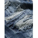 cheap Distressed Zip Fly Straight Denim Jeans