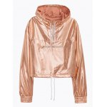 cheap Metallic Color Cropped Pullover Hoodie