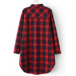 cheap Plus Size Slit Long Sleeve Plaid Shirt