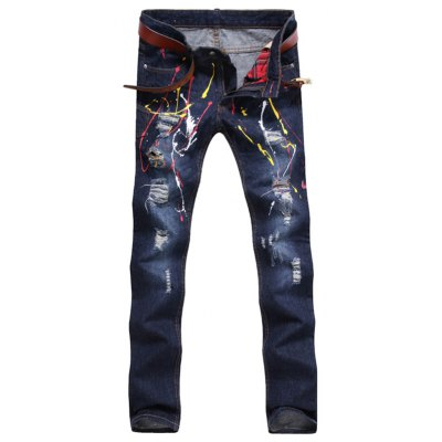 Paint Splatter Broken Hole Jeans